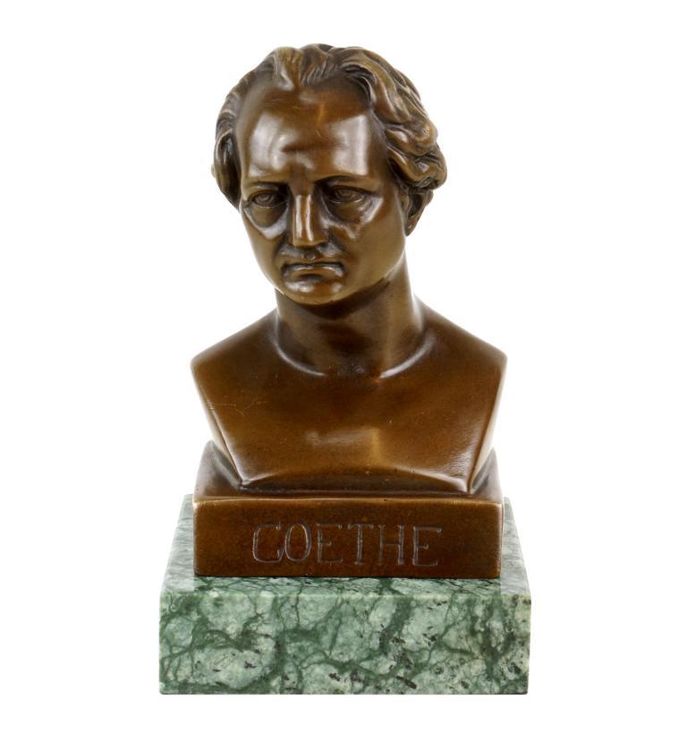 Johann Wolfgang Von Goethe Bronze Bust Bronze Figurine Signed