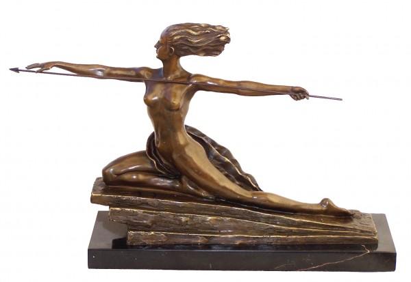 Art Deco Bronze Amazon on marble base signed M. Bouraine