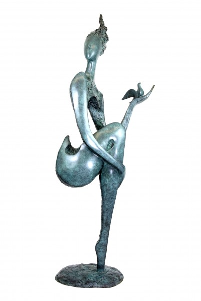 Limited Bronze Nude with Dove - Big Garden Sculpture - Martin Klein