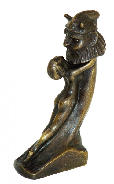 Erotic Vienna Bronze, Lady clutch Phallus, sig. by Duprè, 2-part
