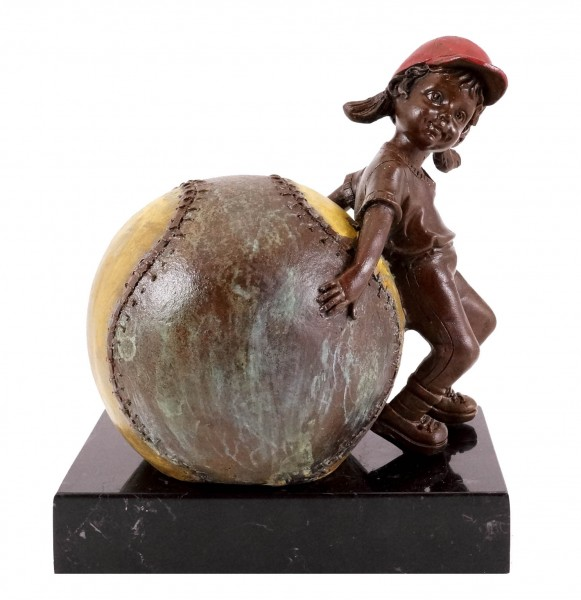Bronze figure - Girl with baseball - sign. Martin Klein