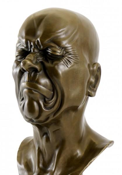 Bizarre Bronze Bust - Head with narrowed Eyes - Messerschmidt