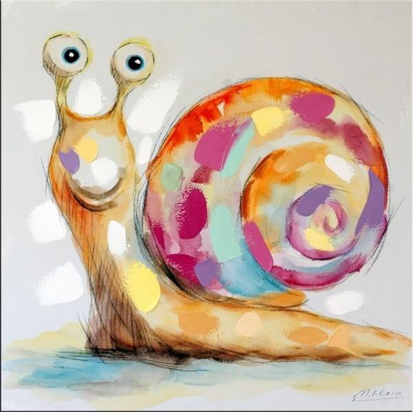 Modern Art - Cute Snail - Acrylic Painting on Canvas