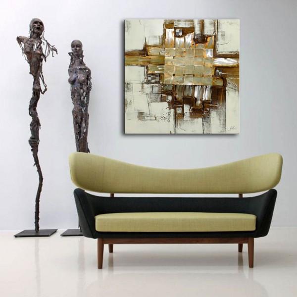 Acrylic painting with metal strips - Bande de métal - M. Klein