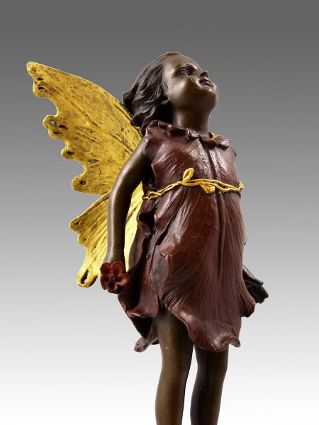Lovely bronze figure - standing fairy elfin - signed Milo