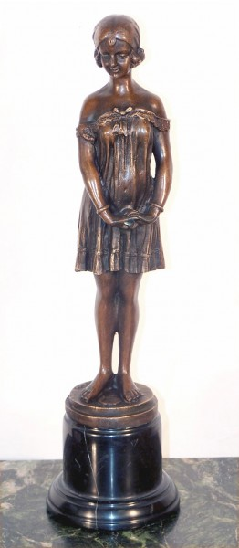 Art Deco Bronze on Marble - Girl in dress signed D.H. Chiparus