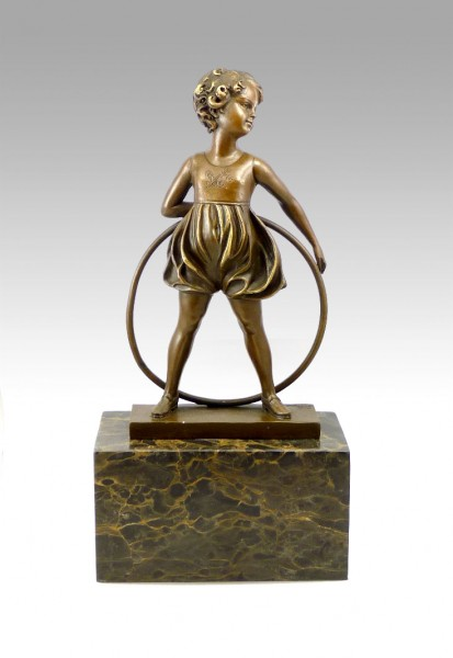 Art Deco Bronze - Girl with Hoop - signed F. Preiss