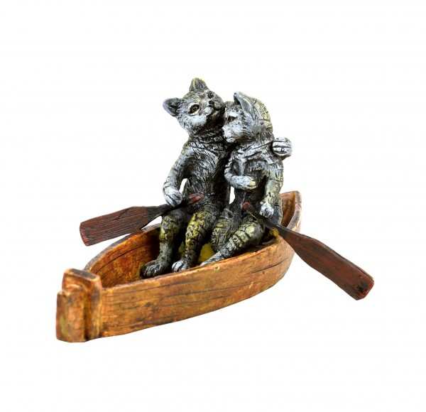 Vienna Bronze Figurine - Cat Couple on a Boat Ride - Hand-Painted