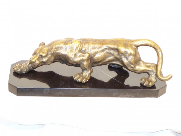Creeping Panther - Stunning Animal Bronze, on marble base