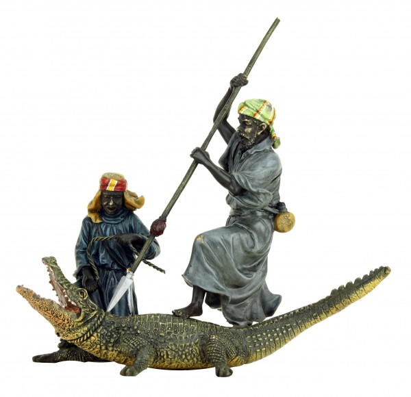 Hand painted Vienna Bronze - Arabian Crocodile Hunters - Bergmann