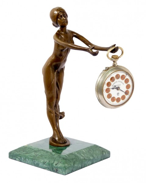 Art Nouveau bronze Pocket Watch holder, signed Bruno Zach