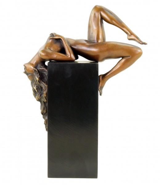 Erotic Bronze Figurine - Reclining Female Nude by Martin Klein