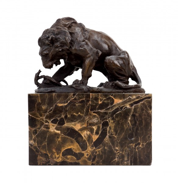 Bronze Sculpture - Lion and Serpent (1838) - A.Barye