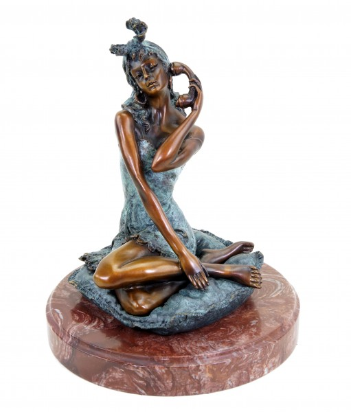 Erotic Bronze Figurine - Sexy Girl Sarah on the Phone - Signed Milo