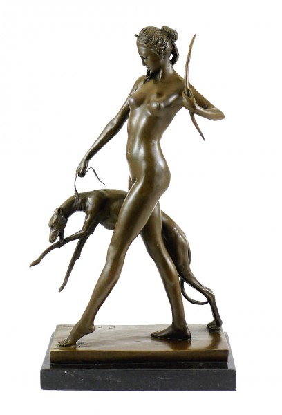 Bronze Sculpture - Diana and Hound - sign. Edward McCartan