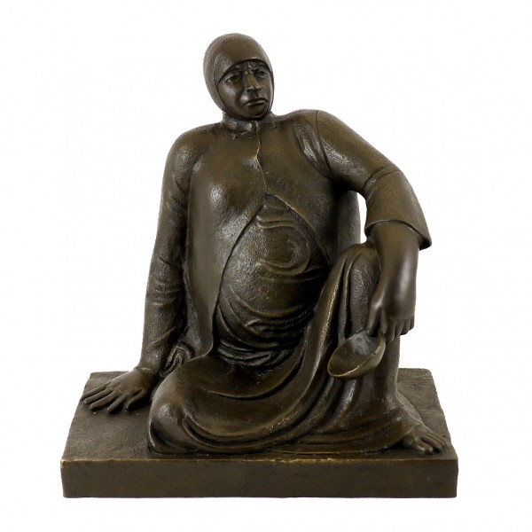 Bronze Figure - Russian Beggar Woman with Bowl - Ernst Barlach