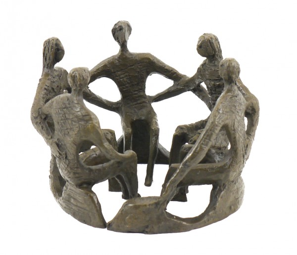 Sculptural Group - Social Cohesion - Real Bronze - sign. M.Klein