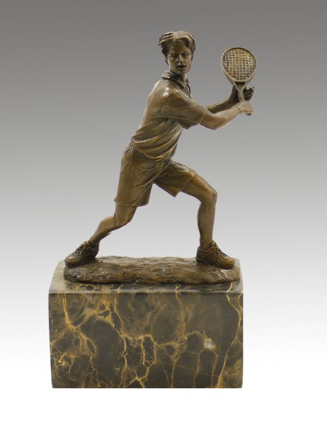 Bronze Cup on marble base - Tennis Player - signed Milo