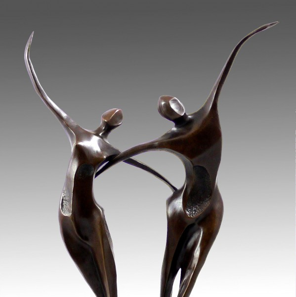 Modern Art Bronze - Two Abstract Dancers - signed by Milo