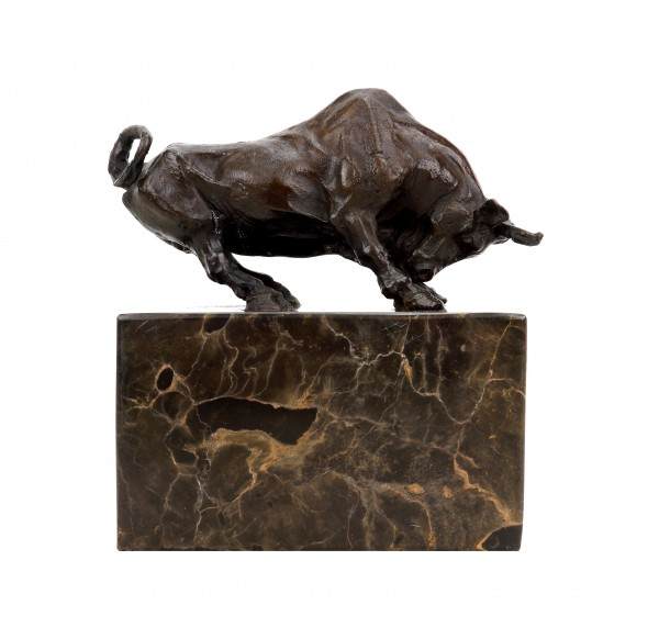 Bronze Bull Figurine - Signed Barye - Animal Sculpture