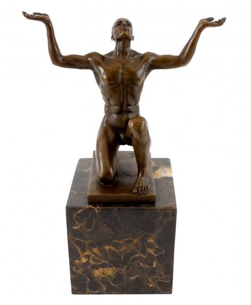 Bronze Sculpture - Kneeling Adonis - signed - Milo