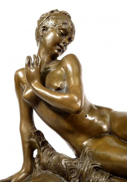 Art Nouveau Bronze - Young Girl Bathing - signed Leon Bertaux