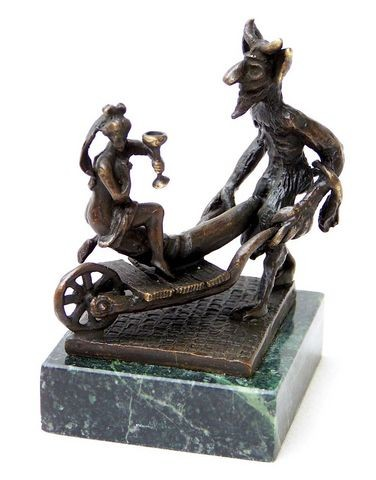 Erotic Vienna Bronze - Devil and virgin with barrow, Bergmann