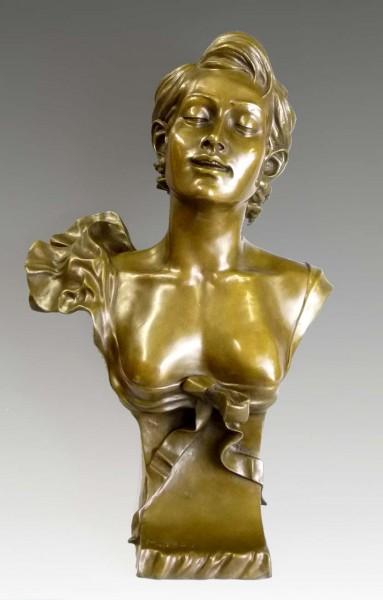 Lovely Art Nouveau bronze Female bust after Auguste Moreau