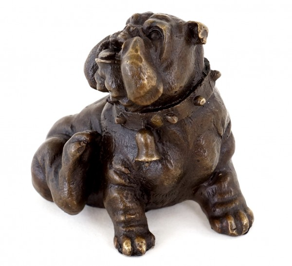 Bronze Animal Sculpture - Scratching English Bulldog - Viennese