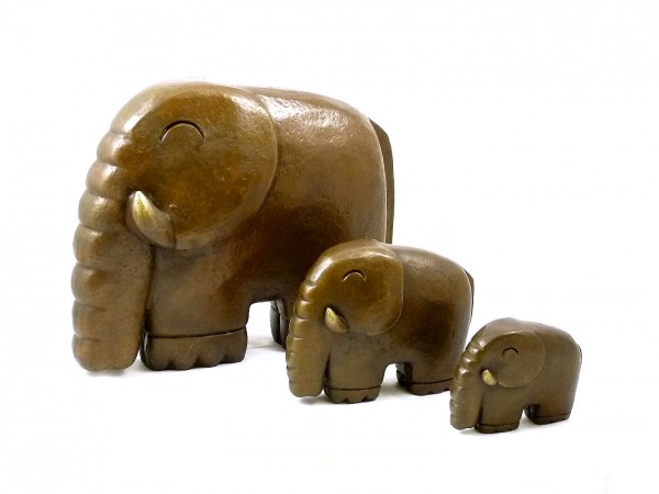 Modern Art Sculpture- Little elephant family- signed Milo