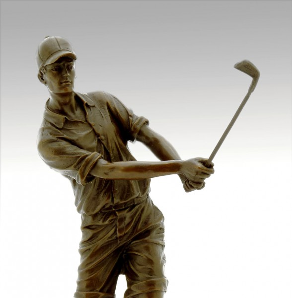Cup / Sports Trophy - The Golfer - made of Bronze, signed Milo