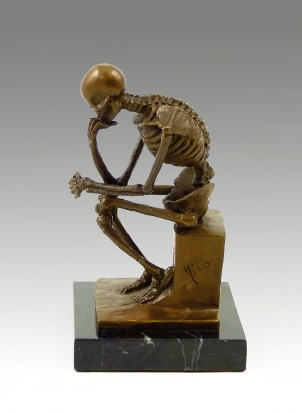Modern Bronze- Skeleton (The Thinker, after Rodin), by Milo