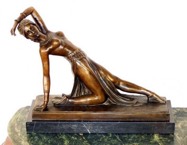 Art Deco Bronze Dancer - signed Chiparus on marble base