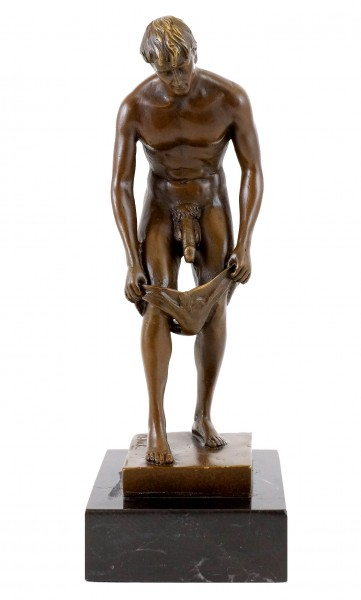 Erotic Bronze Figure - Nude of a lustful young man - sign.