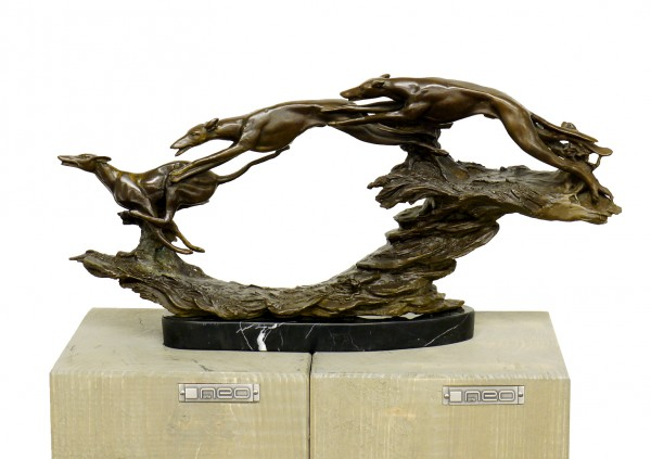 Hunting Season - Three Hunting Dogs - Bronze, signed P. Breuer