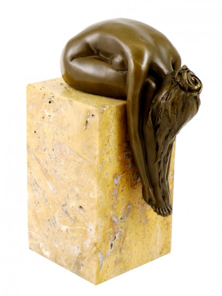 Bronze Statue - A Bent-over woman on a marble base, sign. Milo