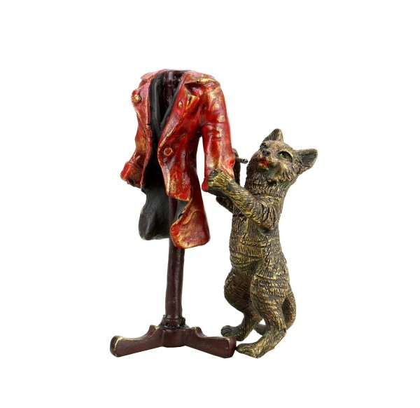 The Cat's New Clothes - Hand Painted Vienna Bronze Cat - Stamped