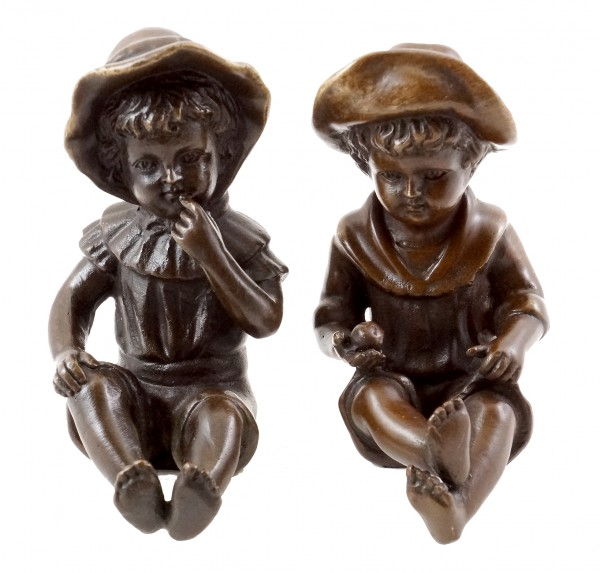 Couple of Children - Real Bronze - signed by Milo