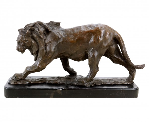 Limited Bronze Animal Figurines - Walking Lion - Signed Bugatti