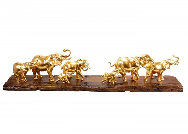 Contemporary Art - Gilded Herd of Elephants by Milo - Elephant Figurine - Gold plated