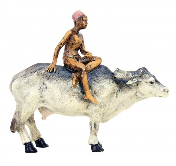 Vienna Bronze - Arabian Boy Riding a Water Buffalo - Bergmann