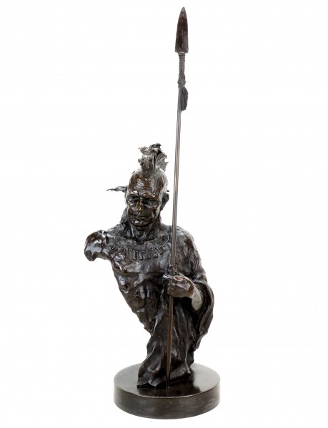 Limited Indian Sculpture - Iroquois - Indian Bronze Warrior