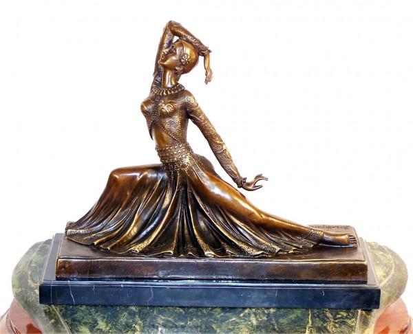 Art Deco Bronze Dancer, signed Chiparus on Marblebase