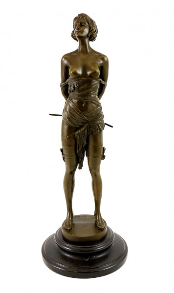 Erotic Bronze Figure - Girl with Riding Corp - sign. Bruno Zach