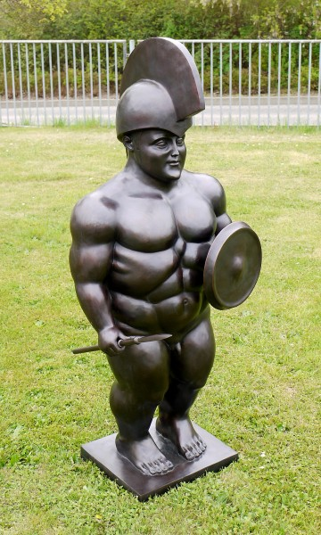 XXL Bronze Sculpture - Roman Warrior - sign. Fernando Botero