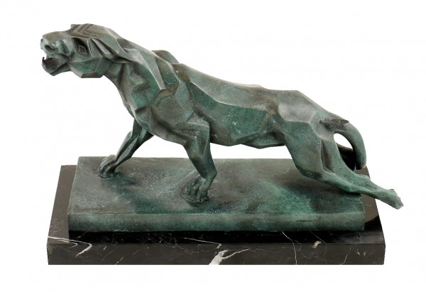 Cubistic Bronze Panther - signed by Duvernet