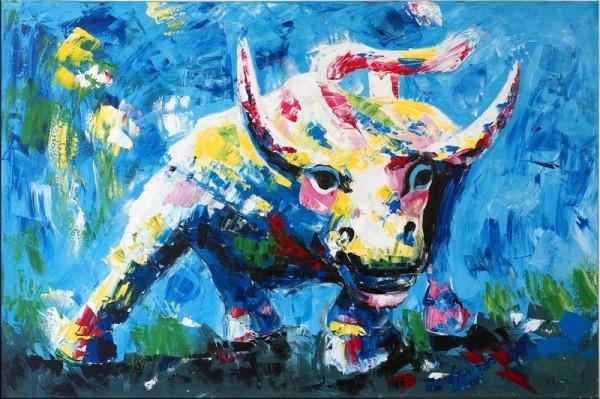 Bull goes wild - Abstract Bull - Acrylic Painting on Canvas
