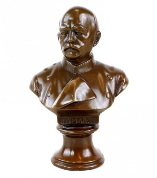 Otto von Bismarck bronze Bust - Signed - Military Bronze on marble base
