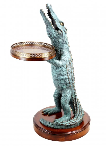 Art Deco - Crocodile Table - A. Stevens - Whiskey Table - Crocodile Figurine