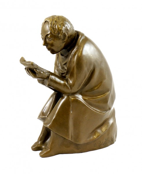 Modern Art Bronze - The Book Reader - 1936, signed Ernst Barlach